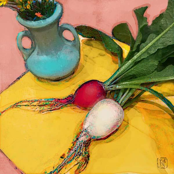 Yolanda V. Fundora: Easter Egg Radishes, Turquoise Vase and Hilma Pink